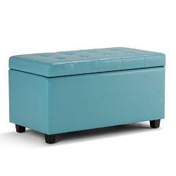Simpli Home Cosmopolitan Faux Leather Rectangular Storage Ottoman Bench, Soft Blue