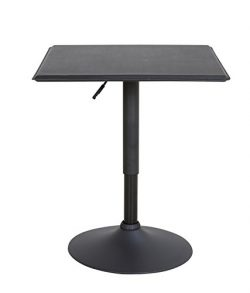 LCH 23.6″ PU Top Adjustable Square Dining Bar Table Kitchen Home Bar Furniture, Black