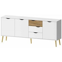 Tvilum 7545449ak Diana Sideboard with 3 Doors and 3 Drawers, White/Oak Structure