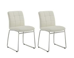 Guest/Reception Dining Chair with Faux Leather Set of 2 Duhome WY-732 Stool (White)
