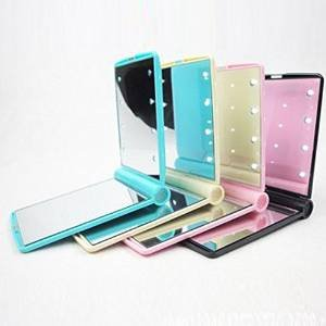 Led Lighted Travel Makeup Mirror 8 Light Portable Hand