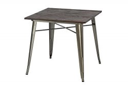 DHP Fusion Square Dining Table, Antique Gun Metal/Wood