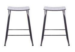 ACEssentials Saddle Backless Counter Stool – Charcoal 2 Pack 24″