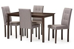 Baxton Studio 5 Piece Andrew Modern and Contemporary Fabric Upholstered Grid-Tufting Dining Set, ...
