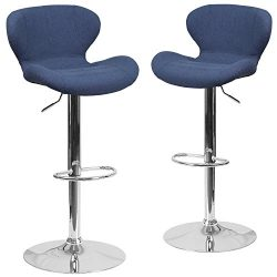 Flash Furniture 2 Pk. Contemporary Blue Fabric Adjustable Height Barstool with Chrome Base