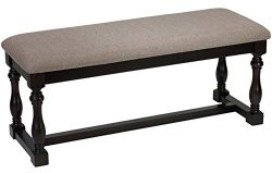 Cortesi Home Newcastle Dining Bench in Taupe Fabric and Stained Black Wood Frame, 44″ Wide
