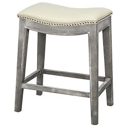 New Pacific Direct Elmo Bonded Leather Counter Stool,Distressed Gray Legs,Beige
