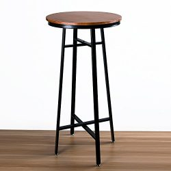 Wood Round Pub Bar Table Cocktail Table Pedestal Table – Kitchen Dining Room Bistro Coffee ...