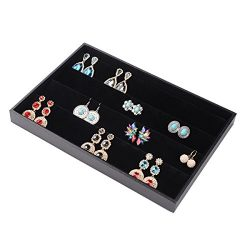 Ginasy 32 Earring Jewelry Display Case Clear Top Black New (Earring Plate)