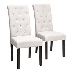 SONGMICS Upholstered Dining Chair, Set of 2, Button Tufted Parson Chair, Solid Wood Legs, Seat H ...