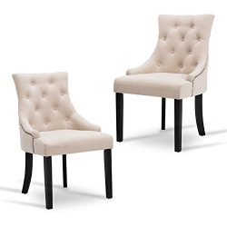 New retail global Tufted Dining Chairs Accent Chairs Set of 2 Fabric Upholstered Leisure Padded  ...