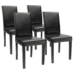 Furmax Dining Chairs Urban Style Fabric Parson Chair Side Chair With Solid Wood Legs Set of 4 (B ...