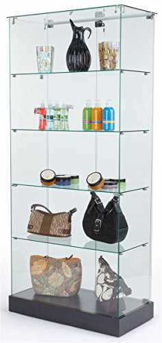 Tempered Glass Frameless Design Display Case With 4 Shelves And Black Laminate Base, 31 x 71 x 1 ...