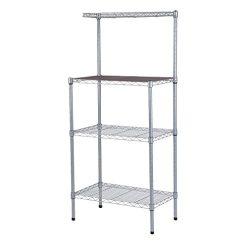 4-Tier Bakers Rack Microwave Stand Storage Rack, Adjustable Kitchen Bakers Rack Stainless Steel  ...