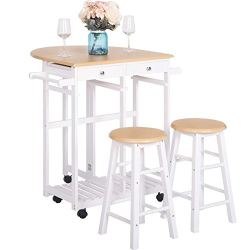 Kitchen Island Table And Chairs: Breakfast Cart With 2 Stools,JULYFOX Drop Leaf Kitchen Island With Seating Chairs Wheels Storage