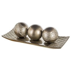 Dublin Decorative Tray and Orbs/Balls Set of 3, Centerpiece Bowl with Balls decorations Matching ...