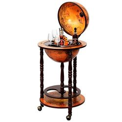 36″ Wood Globe Wine Bar Stand 16th Century Italian Rack Liquor Bottle Shelf New
