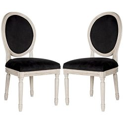 Safavieh Home Collection Holloway French Brasserie Black Velvet & Rustic Oak Grey Side Chair ...