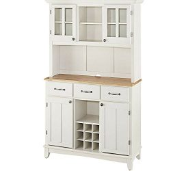 Buffet Hutch Cabinet Wooden Large Country Farmhouse Kitchen Cabinet Cupboard Two Tone Natural an ...
