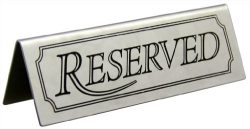 New Star Foodservice 26900 RESERVED Table Tent Sign, Stainless Steel, 4.75 x 1.5-Inch, Set of 6
