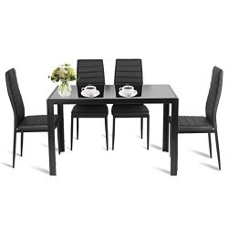 5 Piece Kitchen Dining Set, 1 Glass Top Table & 4 Leather Chairs (Set of 5/Black)