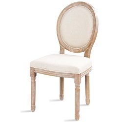 Giantex Rustic Dining Side Chair King Louis Natural Style Distressed Wood French Retro Upholster ...