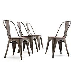 Belleze Bistro Dining Chairs Modern Style Metal Industrial Set of 4 Wood Seat Restaurant Cafe Ba ...