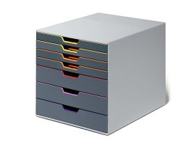 DURABLE VARICOLOR 7, Drawer Desk Storage Box, Gray & Multicolor (760727)