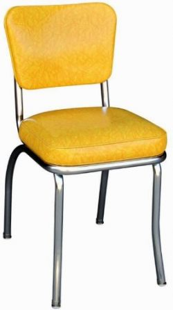 Richardson Seating Cracked Ice Retro Chrome Kitchen Chair with 2″ Box Seat, Yellow