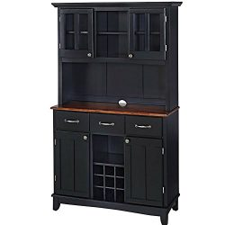 Buffet Hutch Cabinet Wooden Large Country Farmhouse Kitchen Cabinet Cupboard Two Tone Wood op an ...