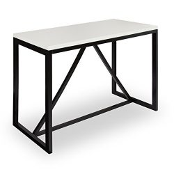Kate and Laurel Kaya 36-Inch Tall Pub/Bar Table, Two-Toned Wood, White and Black