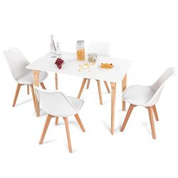 Giantex 5 Pieces Dining Table Set w/4 Chairs Home Dining Room Kitchen Waiting Room Modern Rectan ...
