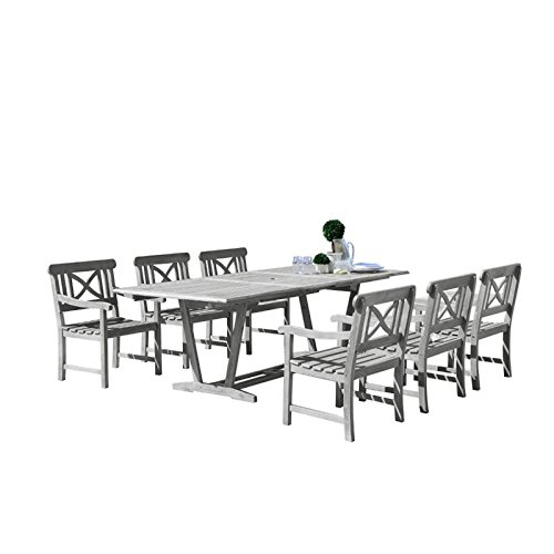Vifah V1336SET23 6 Piece Bradley Outdoor Wood Patio Dining Set with 4′ Bench