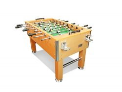 T&R sports 60″ Soccer Foosball Table Heavy Duty for Pub Game Room with Drink Holders, Oak