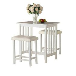 Pub Table Set 3 White Wooden Kitchen Island Breakfast Dining Counter Height Table Stools With Cu ...