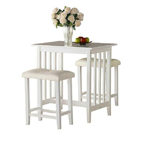 Kitchen Bar Stools For Small Spaces: Pub Table Set 3 White Wooden Kitchen Island Breakfast