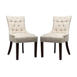 Fabric Dining Chair Upholstered Leisure Padded Chair with Armrest Per-Home, Nailed Trim, Accent  ...