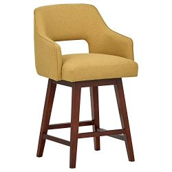Rivet Malida Mid-Century Open Back Swivel Counter Stool, 37″ H, Canary
