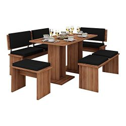 5 Pc Breakfast Kitchen Nook Table Set, Bench Seating, Cherry with Black