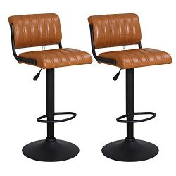 "LCH 24"" – 33"" PU Leather Adjustable Bar Stools, Set of 2 Stylish Counter Height Swivel Bar ..."