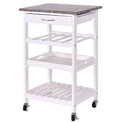 Kitchen Trolley Cart Shelf Wine Rack Storage Tray Rolling Shelves 4 Tier