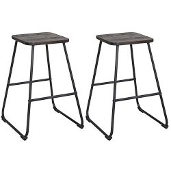 LCH 24-Inch Backless Bar Stools for Home Kitchen Restaurant or Counter, Set of 2 Wooden Barstool ...