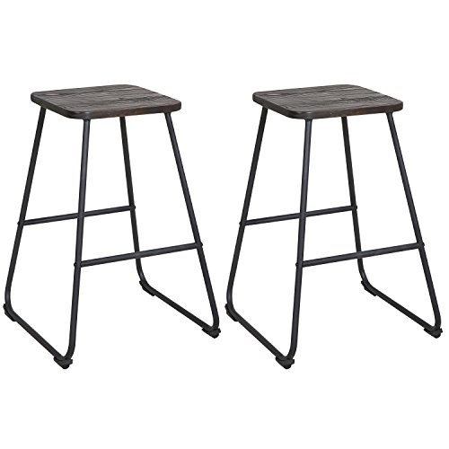 lch 24 inch backless bar stools for home kitchen restaurant or counter set of 2 wooden barstool. Black Bedroom Furniture Sets. Home Design Ideas