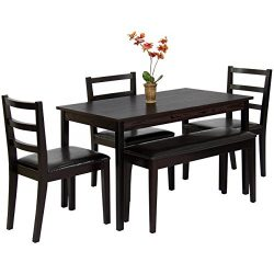 Best Choice Products 5-Piece Wood Dining Table Set w/Bench, 3 Chairs Dinette – Brown