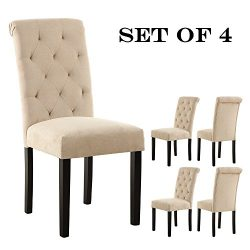LSSBOUGHT Stylish Dining Room Chairs with Solid Wood Legs, set of 4 (Beige)