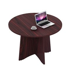 """Sunon 47.2"""" Laminate Round Conference Table Dining Table with X-Shaped Wood Base (Mahogany)"""