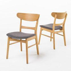 Helen Mid Century Modern Dining Chair (Set of 2) (Dark Grey w/ Natural Finish)