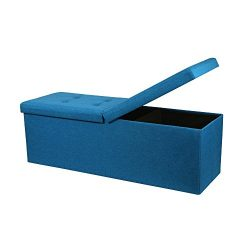Otto & Ben 45″ Storage Ottoman Folding Upholstered Tufted Bench Foot Rest, Royal Blue