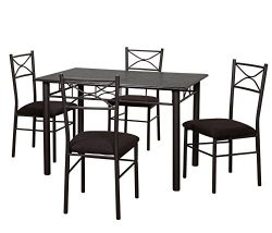Target Marketing Systems 5 Piece Valencia Dining Set with 1 Table and 4 Chairs, Black