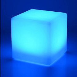 Mr.Go 16-inch Rechargeable LED Light Cube Stool Waterproof with Remote Control Magic RGB Color C ...
